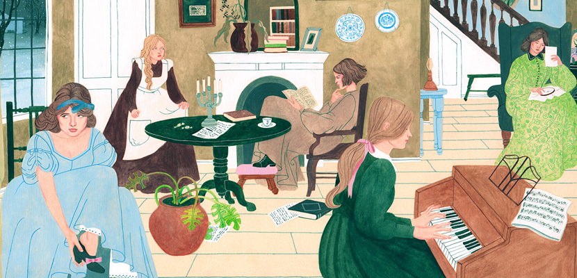 Illustration by Riika Sormunen. Spanish edition of Louisa May Alcott's Little Women, published by Random House.