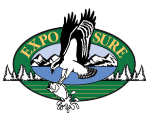 EXPO SURE: bird catching fish logo